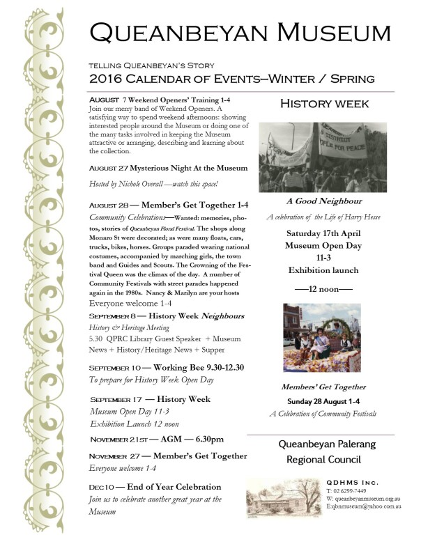 Queanbeyan Museum Calendar of Events 2016 summer autumn update